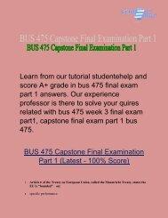 BUS 475 final exam part 1  | BUS 475 Final Exam Answers - Studentehelp