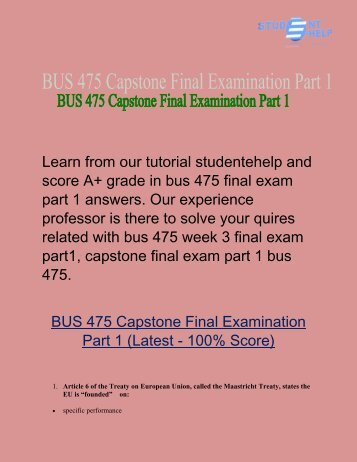 BUS 475 final exam part 1  | BUS 475 Final Exam Answers - Studentehelp