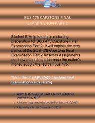 BUS 475 Capstone Final Examination Part 2 | bus 475 final exam part 2 answers - Studentehelp
