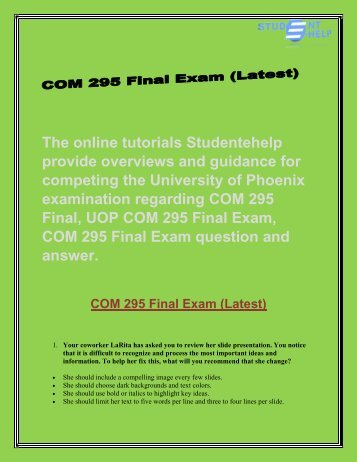 Studentehelp : COM 295 Final Exam | COM 295 Final Exam Question and Answers