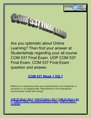 COM 537 Final Exam - COM 537 Final Exam Question And Answer - Studentehelp