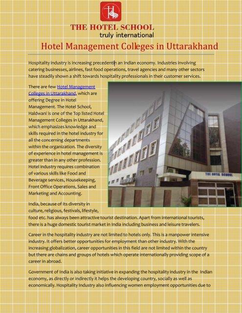 Hotel Management College in Uttarakhand