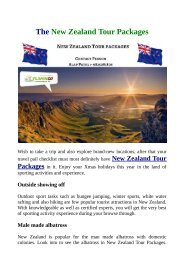 New Zealand Tour Packages Choose to you