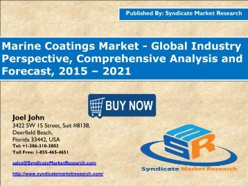 Marine Coatings Market: 2016 Industry Analysis, Segment & Forecast up to 2021