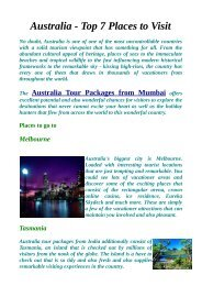 Top Things to see Australia Tour Packages From Mumbai