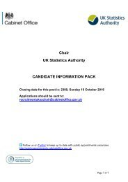 Chair UK Statistics Authority CANDIDATE INFORMATION PACK