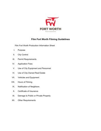 Film Fort Worth Filming Guidelines