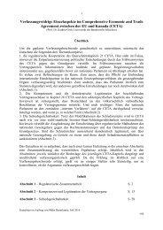 Agreement zwischen der EU und Kanada (CETA)