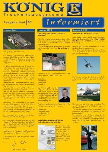 Kundenzeitung Juni 2007 - KÖNIG GmbH & Co KG