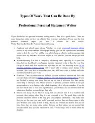 Personal Statement Writing Services How They Can Be at Your Service