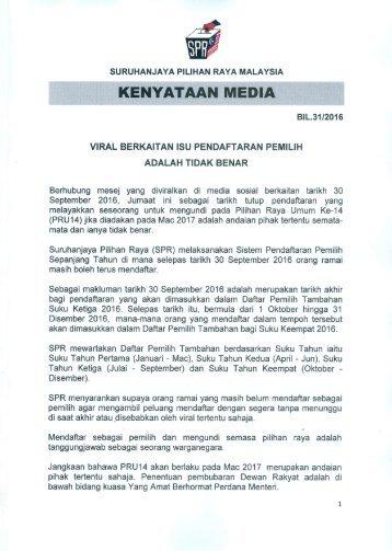 Kenyataan Media Pengerusi SPR - Viral berkaitan isu pendaftaran pemilih adalah tidak benar