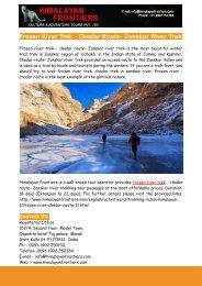 Frozen River Trek - Chadar Route- Zanskar River Trek