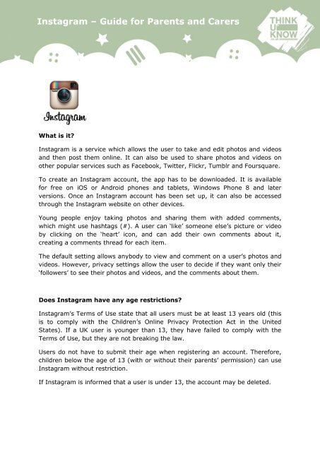 Instagram – Guide for Parents and Carers