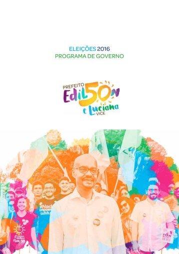ELEIÇÕES 2016 PROGRAMA DE GOVERNO