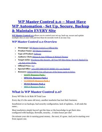 WP Master Control 2.0 Review and WP Master Control 2.0 (EXCLUSIVE) bonuses pack