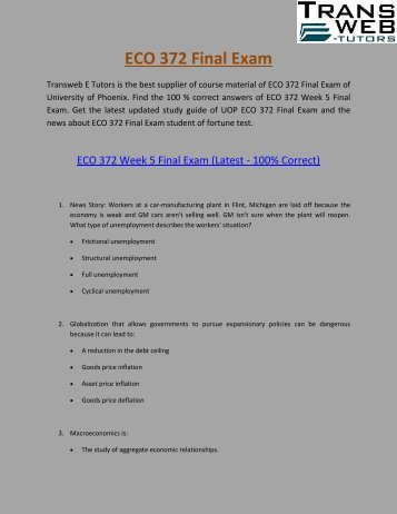ECO 372 Final Exam :  ECO 372 Final Exam Answers Free | Transweb E Tutors
