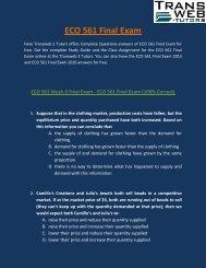ECO 561 Final Exam - ECO 561 Final Exam Answers - Transweb E Tutors