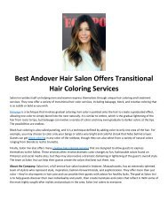 Best Andover Hair Salon Offers Transitional Hair Coloring Services