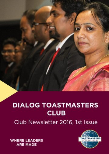 Dialog Toastmasters Club Newsletter 2016, Issue 1