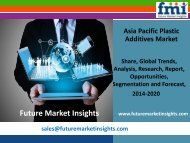 Asia Pacific Plastic Additives Market Trends and Competitive Landscape Outlook to 2020