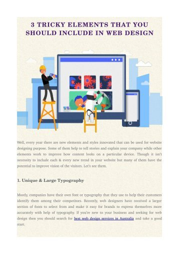 3 TRICKY ELEMENTS THAT YOU SHOULD INCLUDE IN WEB DESIGN