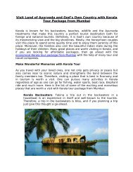 Visit Land of Ayurveda and God's Own Country with Kerala Tour Package from Mumbai