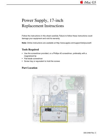 Imac G5 17 Inch Power Supply Replacement Support Apple