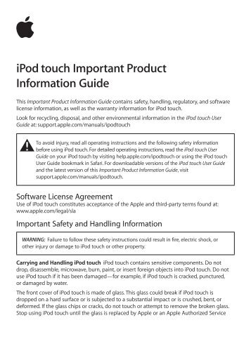 A1574 ipod touch user manual 2 of 5 apple inc.