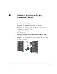 Apple Installing the Network Server 200-MHz Processor Card Upgrade - Installing the Network Server 200-MHz Processor Card Upgrade