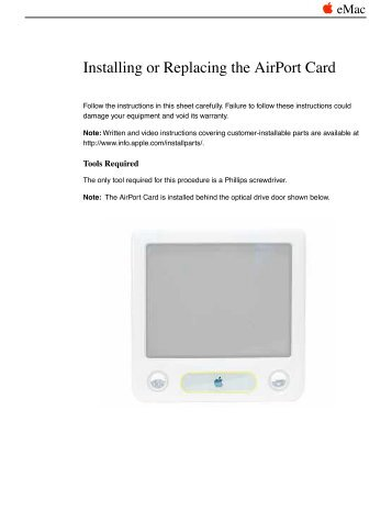 Apple eMac - Installing or Replacing the AirPort Card - eMac - Installing or Replacing the AirPort Card