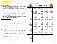 October 2016 Calendar and Curriculum