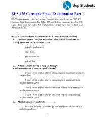 UOP Students : BUS 475 Capstone Final Examination Part 1 - Business Capstone Final Exam