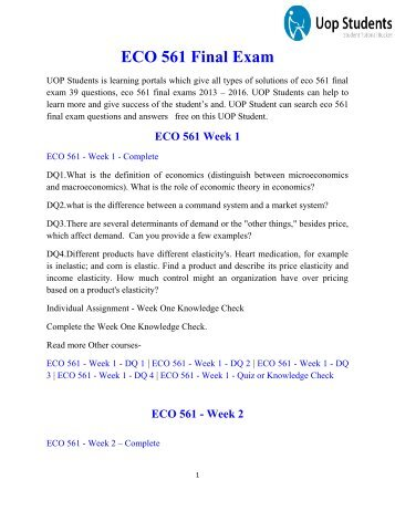 ECO 561 Final Exam | ECO 561 Final Exam 39 Questions | UOP Students