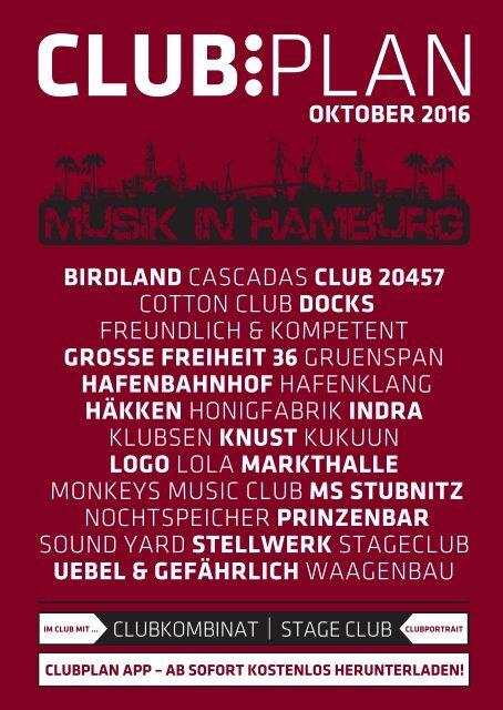 Clubplan Hamburg - Oktober 2016