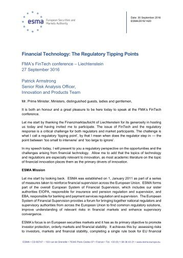 Financial Technology The Regulatory Tipping Points