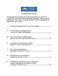 AWARD BOOK LISTING The genealogical associations and ...