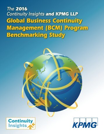 Global Business Continuity Management (BCM) Program Benchmarking Study