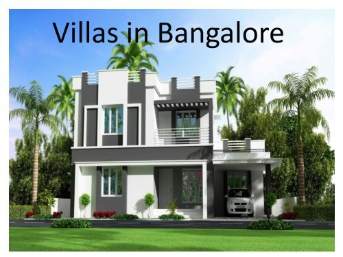 Ongoing Villa projects in Bangalore for Sale