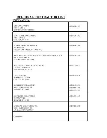 REGIONAL CONTRACTOR LIST - Calumet County