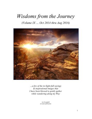 Wisdoms from the Journey - Vol IX (Oct 14 thru Aug 16)