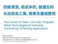 四級清潔, 低成本的, 被遺忘的水技術為工業, 商業及養殖應用 / Four Levels of..