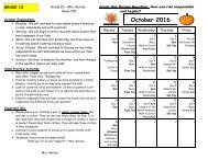 October 2016 Calendar and Curriculum