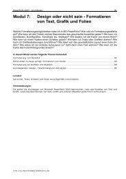 Modul 7: Design oder nicht sein - Formatieren von Text, Grafik und ...