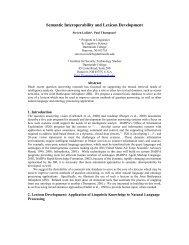 Semantic Interoperability and Lexicon Development - Institute for ...