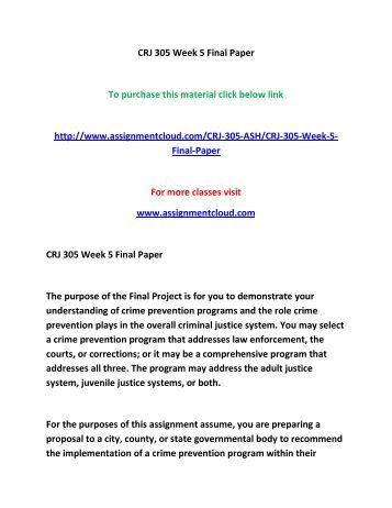 ASHFORD CRJ 422 Week 5 Final Paper