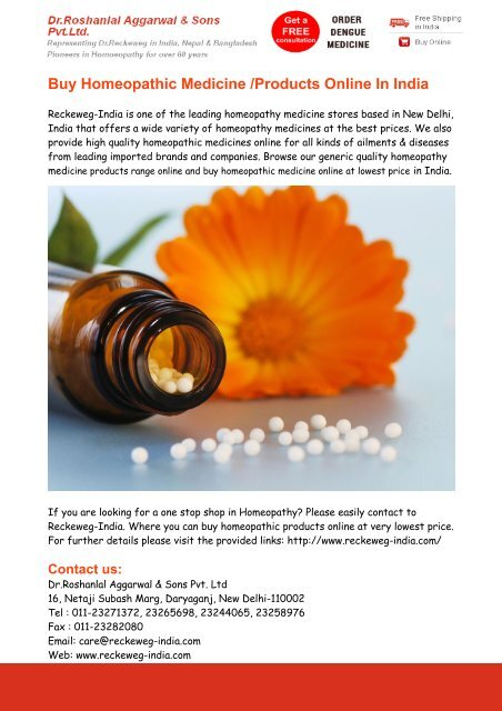 Buy Homeopathic Medicine Online India - Reckeweg India