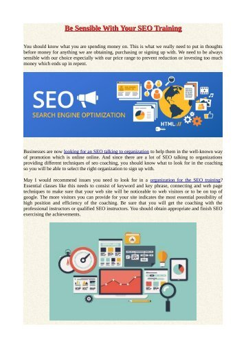 Be Sensible With Your SEO Training