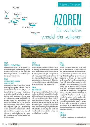 Azoren - de wondere wereld der vulkanen brochure groupe 2017