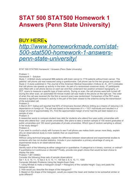 STAT 500 STAT500 Homework 1 Answers (Penn State University)
