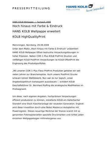 KOLB HighQualityPrint - Hans Kolb Wellpappe GmbH & Co